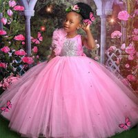 2021 Pink Lace Beaded Tutu Flower Girl Dresses Ball Gown Tulle Lilttle Kids Birthday Pageant Weddding Gowns ZJ556