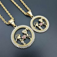 Iced Out Bling Gold Color Lovers Couple Pendant Necklace Boys And Girls Necklaces Jewelry For Women Stainless Steel Chain