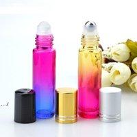 10 мл стеклянного рулона на бутылках градиентных цветовых роликов бутылки с шариками из нержавеющей стали Roll-на бутылке для эфирных масел GWE10398