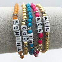 Charm Bracelets 5 Pcs Set Bohemian Statement Colorful Acrylic Resin Bead Inspiration Stretch Bracelet Set For Women Beach Jewelry Gift