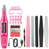Nail Art Kits 10pcs Set Set Dust Brush USB Portable Machine Drill File Buffer Manicure Tool Kit For Salon And DIY Tools