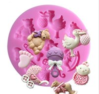 7.8*7.8*1cm 3D Baby Horse Baking Moulds Bear Silicone Cake Mold Turn Sugar Cupcake Jelly Candy Chocolate Decoration
