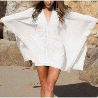 Kinsmirat نساء شاطئ اللباس مثير متماسكة الخامس الرقبة تنورة الصيف بلون فضفاض ملابس السباحة
