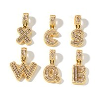 INS Style Gold Silver Plated CZ Alphabet Initial Pendant Rope Chain Necklace