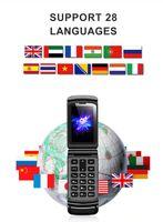 Mini Flip Téléphone 800mah Dialer Bluetooth sans fil Cellule Cadre Cadre Cadre de Casque Dual Sim Carte TF 32Go Petit Small Téléphones mobiles Russie Arabic USA