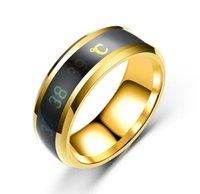 스마트 온도 커플 반지 분위기 링 스틸 크리 에이 티브 웨딩 쥬얼리 변경 번호 온도 PS0004