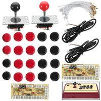 게임 컨트롤러 조이스틱 2 플레이어 Zeros 지연 조이스틱 아케이드 + LED USB 인코더 + 20 조명 푸시 버튼 + 28 케이블 아케이드 MAME RASP 용 아케이드