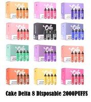 Orijinal Kek Delta 8 Tek Kullanımlık Pods 2000 Puffs Starter Kiti E Sigara Cihazı Tam Gram 6.5ml Kapasiteli Pod Vape Kalem 1250 mAh Pil Kalın Yağ için 12 Renkler