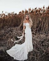 Beach Lace Wedding Dresses Country Style Off The Shoulder Short Sleeves Bridal Dresses Boho Wedding Gowns