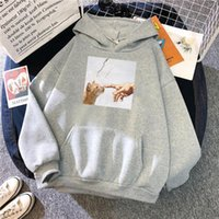 Men's Hoodies & Sweatshirts Loose Vintage Clothes Finger Touching Cute Cat Printing Mens Hooded Coldproof Vogue Sweatshirt Oversized Hoodie
