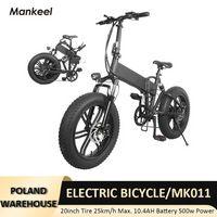 Mankeel دراجة كهربائية سكوتر 20 بوصة 500W الطاقة طوي e-bike 25 كيلومتر / ساعة ماكس السرعة الرياضة الدراجات الجبلية بولندا مستودع MK011