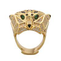 Мода Classic Luxury Big Leopard Head Ring Dubai Европейская Африка Набор Циркон Женщины Девушка Свадебная Свадебная вечеринка Подарочные Украшения Серьги Серьги