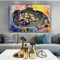Canvas Painting Secure the Bag Oil Money Posters and Prints Wall Art Picture for Living Room Home Decor No Frame