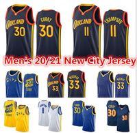 Maglie da basket Jerseys a buon mercato Stephen 30 Curry Jersey Klay 11 Thompson 33 James Wiseman Andrew 22 Wiggins WarriorCittàNero Blu