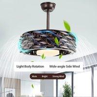 Безлистые потолочный вентилятор света невидимый северный ресторан гостиной спальня простая и стильная светодиодная люстра