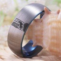 Anelli di nozze American Bandiera American Wolf Ring Howling Classic Men 8mm Band Tungsteno Anniversary Gift Goccia Goccia gioielli