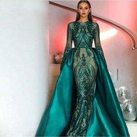 Elegant Green Long Sleeves Evening Dresses With Detachable Train Sequin Bling Moroccan Kaftan Formal Party Gown Prom Dress Vestido de novia