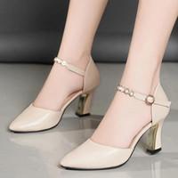 Dress Shoes Cresfimix Sapatos Femininas Women Classic Black Buckle Strap Hollow Office High Heel Lady Beige Autumn Heels A9576c