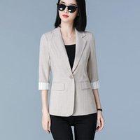Women's Casual Suit Jacket Plus Size Blazer Women Stripe Patchwork Ladies Fashion Small Coat Slim Feminino Suits & Blazers