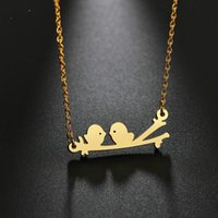 Gold Silver Color Two Birds Necklaces & Pendant Women Stainless Steel Animal Choker Statement For Lover Gift Chains