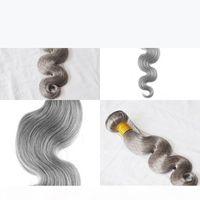 Brasiliano Body Wave And Silver Grey Capelli Estensioni 100g Pezzo Umano Grigio Capelli Tessuto Brasiliano Body Body Wave Grey Blonde Capelli Virgin Extensions