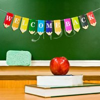 BACK TO SCHOOL flag drawing pencil Letter Rainbow colors Banner indoor classroom decoration drawing back to school party decoration scene layout G795B0I
