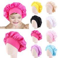 Caps de cetim de seda sólida larga elástico dormindo chapéu menina noite tampão tampão cuidado cabelo capota nightcap kids unisex cap bonnet bandanas