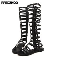 """VALENTINO""""Boots Women Gold Flat Rivet Side Zip Open Toe Cut Out Shoes Roman Brand Knee High Slingback Sandals Summer Gladiator Stud LcE"""