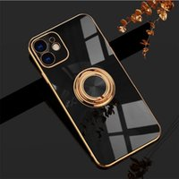 ElectroPlating Silicone Case With Ring Holder Plating magnetic Cases for IPhone 13 12 11 Pro Max XS XR X 7 8 Plus SE Protection Board Shockproof Cover DHL
