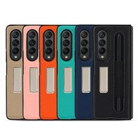 Luxury Vintage Series Back Cover for Samsung Galaxy Z Fold3 5G Fold 3 Stand Lizhi Real Leather Case with pen bag