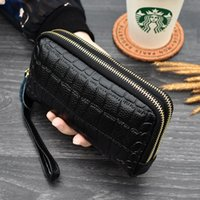 Wallets Trendy Double Zip Cowhide Clutch Bag Fashion Lady Coin Purse Dinner