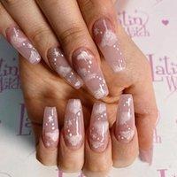 False Nails 24pcs Fake Long Fingernail Ballet Nude Color Transparent Pink Cloud Manicure Patch Press On With Designs For Girls