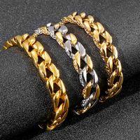 Link, Chain High-Quality Hip Hop Men's Silver Gold Bracelets Bangles 12MM Cuban Link For Men Jewelry