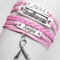 50 pçs / lote Moda Multicamada amor Faith Letter Acredite Câncer de Mama Consciência Charme Pulseiras para as Mulheres