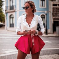 European and American summer women's solid color shorts wide leg Button Horn show thin pants