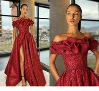 2021 Modest Burgundy Prom Dresses Off the Shoulder Ruffles Sparkly Sequins Side Slit High Split Custom Made Evening Party Gown Formal Occasion Wear vestidos
