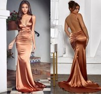 Sexy Spaghetti Straps Backless Prom Dresses 2021 Soft Satin Ruched Mermaid Arabic Women Party Dress Evening Gowns Vestidos De Fiesta M27