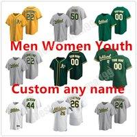 Custom 2021 Oakland 28 Matt Olson Athletics Jersey 26 Chapman 9 Reggie Jackson 24 Rickey Henderson 50 Mike Fiers 2 Khris Davis Baseball Jerseys