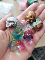 2021 New Halloween Glass Skull Pendant 10pcs Mixed Colors Skulls Decoration for Women Jewelry Gifts