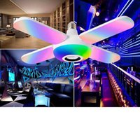 Bulbs E27 LED Bulb Fan Blade Bluetooth Speaker AC85-265V 32W Foldable Light For Home Ceiling With Remote Controller