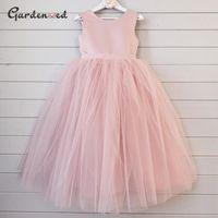 Платья девочки розовый пухлый цветок девочка Dressespuffy Princess платье Грил сатин бантик чистый первый причастий маленький день рождения