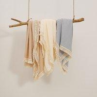 Newborn baby Blankets Infant toddler tassel Swaddling Towels Solid color Muslin Cotton Gauze bath towel Wrapped 80*65cm Z4296