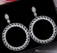 Moda Hollow Drop Loop Brinco 5A Zircão CZ Diamante 925 Sterling Prata Noivado Casamento Dangle Brincos Para As Mulheres Bridal Jóias Presente
