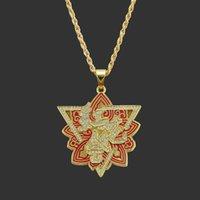 Кулоны для шеи амулет шеи хип-хоп ожерелье сплава алмаз красный цветок подвеска