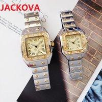 luxury women men diamonds ring watch Fashion Full Stainless Steel Dress Watches Square Roman Dial Designer Quartz Sapphire Wristwatches montre de luxe gifts