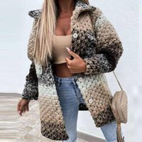 Women's Jackets SYJ Colorful Printed Women Cardigan Autumn Winter Long Sleeve Loose Casual Outerwear Fashion Turn-down Collar Twist Overcoat