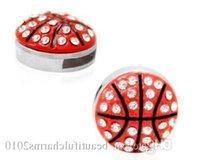 (20 ,50 )Pcs  Lot 8mm Rhinestones Basketball Sport Slide Charm Fit For 8mm Diy Leather Wristband  Bracelet Keychains