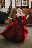 Princess Red Black Lace Medieval Fantasy A Line Wedding Gowns Victorian Halloween Masquerade Ball Gown Queen Puffy 2022 Sweet 16 Bridal Party Dresses