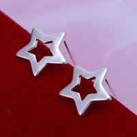 Stud Promotion! Smooth Hollow Stars Fashion 925 Jewelry Silver Earings For Women Girl Earrings Brinco Gift