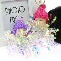 Плюшевые брелки Спящая Детская Кукла Цветок Помпом Меховой Шариковый Ключ Цепь Пушистые Автомобильные Грузные Игрушки Для Детей Подарочный брелок